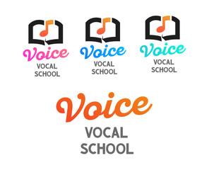 Set of vector logos for Vocal School - Creative design of emblem on white transparent background.