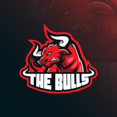 bull mascot logo design vector with modern illustration concept style for badge, emblem and tshirt printing. angry bull illustration for sport team.