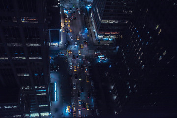 drone picture of a midtown NYC street at night