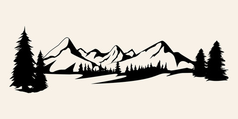 Mountains silhouettes. Mountains vector, Mountains vector of outdoor design elements, Mountain scenery, trees, pine vector, Mountain scenery illustration.