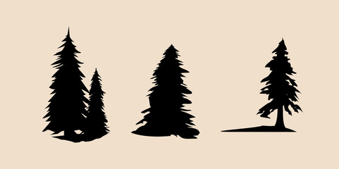 Vector silhouette of different pine trees. Pine trees illustration set, Black silhouette Trees vector, Pine tree vector