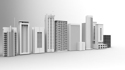 Buildings, skyscrapers, metropolis image. 3d illustration. On a light background.