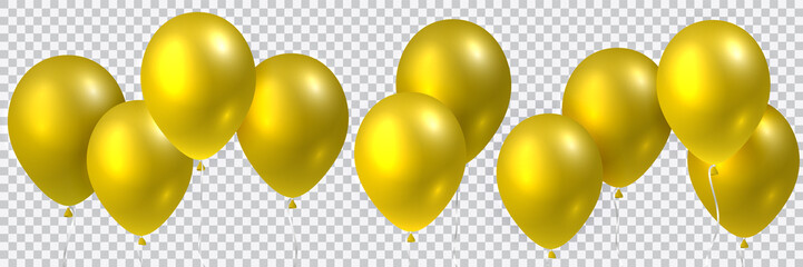 Beautiful colorful realistic seamless vector of golden flying party balloons.