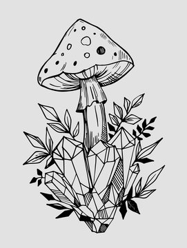 Toadstools with crystals. Hand drawn illustration converted to vector. Tattoo sketch.