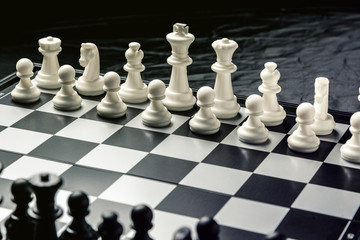 Chess board with black and white chess facing each other