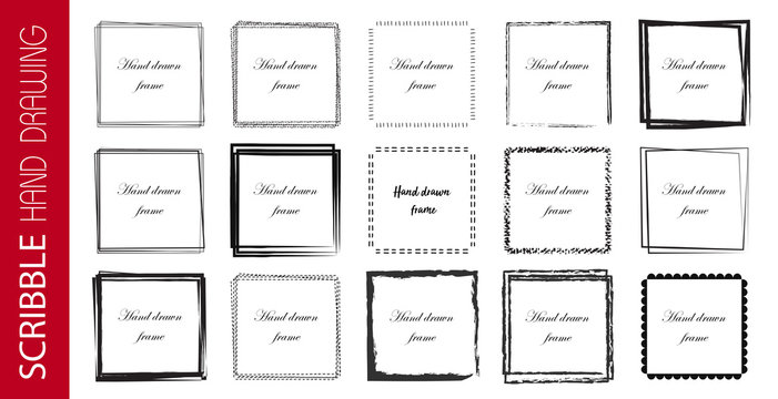 Set of 12 Hand Drawn Scribble square, vector logo design elements. Vector illustration on white background