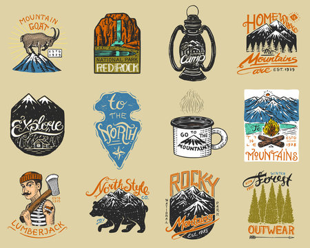 Camping logo and labels. Mountains and lumberjack, brown bear, mountain goat, pine trees. Trip in the forest, outdoor, adventure is waiting. Colored badges on the chalkboard. Hand drawn vintage pins.