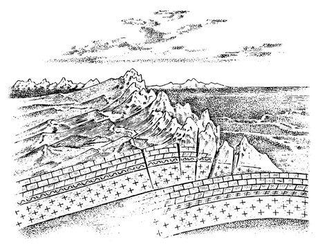 Lithosphere and the structure of the earth. Concept Geography geology background. layers and cross section of tectonic plates. The scheme of the movement of continents and the formation of mountains.