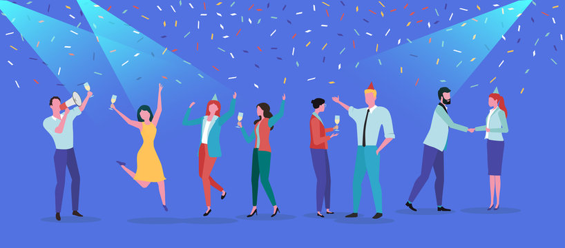 Party festive poster with people and confetti. Flat style design.
