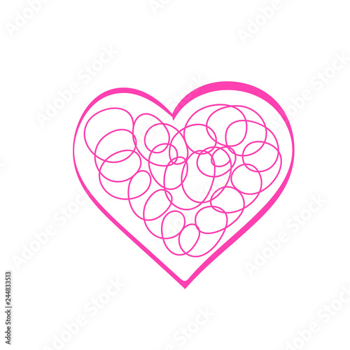 Heart Sketch Drawing Cute Illustration For Valentines Day Stock