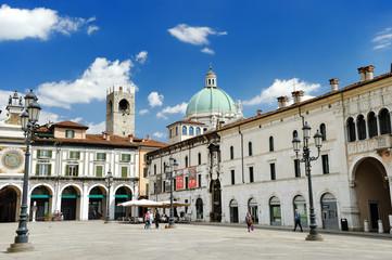BRESCIA, ITALY - MAY 15, 2017: The panorama of Piazza della Loggia square at sunny day