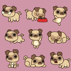 Cute kawaii cartoon pug in different poses. Vector clip art illustration with simple gradients. Each on a separate layer.