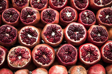 Stack fresh pomegranate. Fruit concepts background