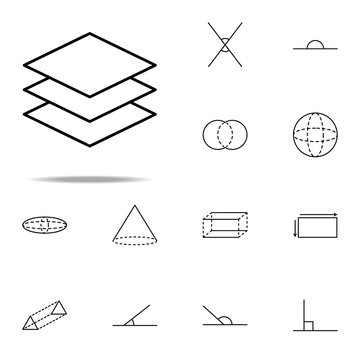 three layers icon. Geometric figures icons universal set for web and mobile