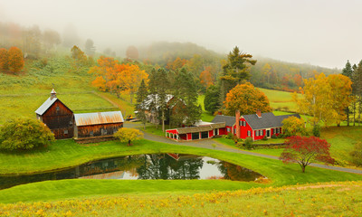 Overlooking a peaceful New England Farm in the autumn, Woodstock, Vermont