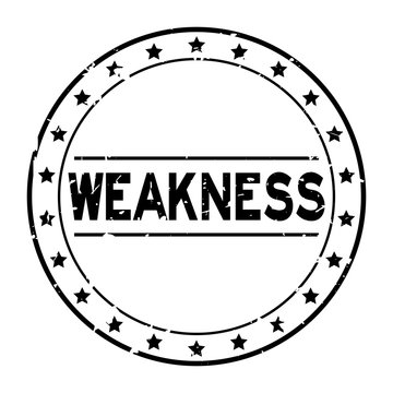 Grunge black weakness word with star icon round rubber seal stamp on white background