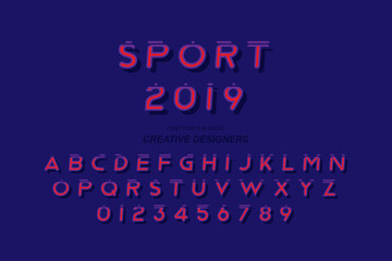 Sport original bold font alphabet letters and numbers for creative design template for logo. Flat illustration EPS10