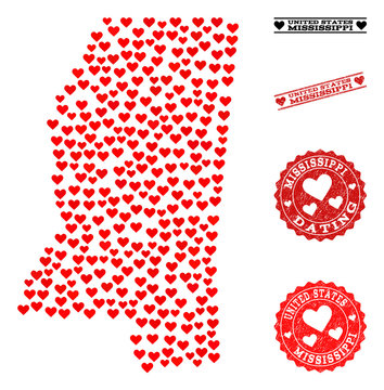 Collage map of Mississippi State created with red love hearts, and grunge watermarks for Valentines day. Vector lovely geographic abstraction of map of Mississippi State with red romantic symbols.