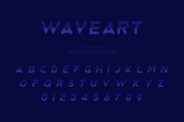 Wave original bold font alphabet letters and numbers for creative design template for logo. Flat illustration EPS10