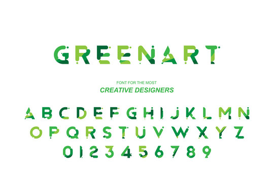 Green Eco original bold font alphabet letters and numbers for creative design template for logo. Flat illustration EPS10