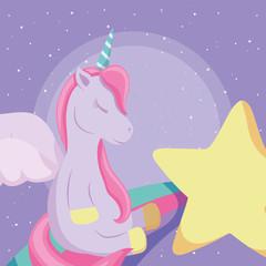 Fotobehang Draw cute unicorn design