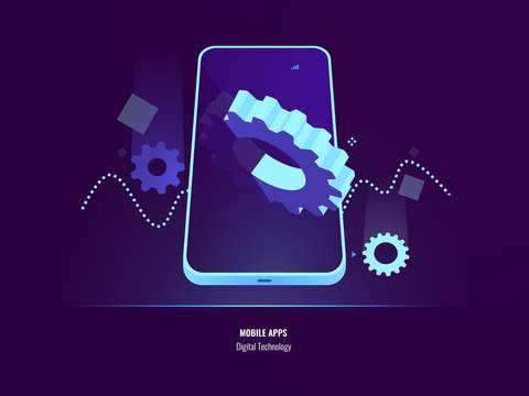 Mobile apps development, application installing and update concept, smartphone setting, big gear in screen of mobile phone, 3d isometric vector