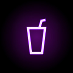 cocktail icon. Elements of web in neon style icons. Simple icon for websites, web design, mobile app, info graphics