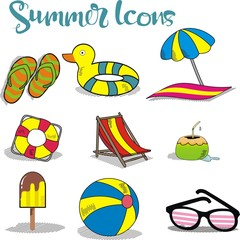 summer icons isolated on white background