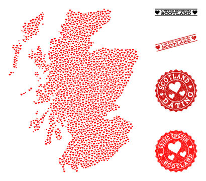 Mosaic map of Scotland created with red love hearts, and grunge stamp seals for dating. Vector lovely geographic abstraction of map of Scotland with red romantic symbols.