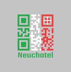 QR code set the color of Neuchatel flag, The canton of Switzerland.