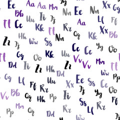 Light Purple vector seamless pattern with ABC symbols.