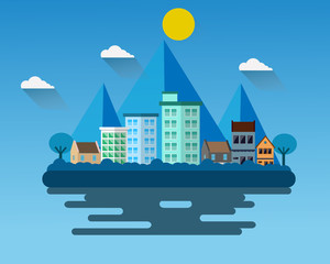 City hall landscape flat design vector.