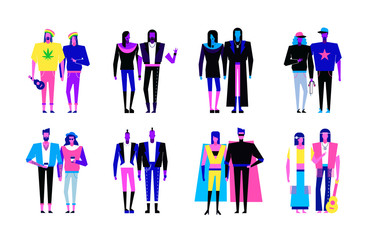 Colorful flat line characters,subculture music genre apparel style concept.Flat people outfit styles diversity-hipster,hip hop,rap,punk,hippie,rock,metal,goth,reggae genres on white background