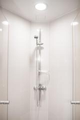 Interior of modern shower head in bathroom at home.Modern design of bathroom..White bathroom..Shower Head.