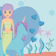 Cute unicorn and mermaid design