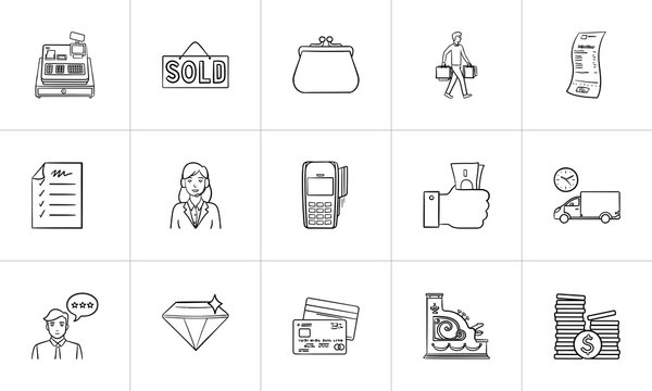 Shopping and paying hand drawn outline doodle icon set. Outline doodle icon set for print, web, mobile and infographics. E-commerce, market vector sketch illustration set isolated on white background.