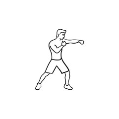 Boxing man in gloves hand drawn outline doodle icon. Fighting sport, martial arts, boxing male fighter concept. Vector sketch illustration for print, web, mobile and infographics on white background.