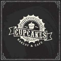 Vector bakery logo design elements template on vintage blackboard texture