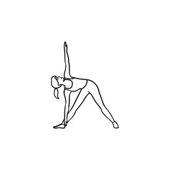 Woman doing yoga in triangle pose hand drawn outline doodle icon. Gymnastics, fitness activity, balance concept. Vector sketch illustration for print, web, mobile and infographics on white background.