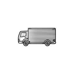 Delivery truck hand drawn outline doodle icon. Fast delivery service, cargo van and shipping concept. Vector sketch illustration for print, web, mobile and infographics on white background.