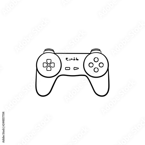 Game joystick hand drawn outline doodle icon  Video game