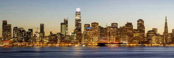 San Francisco Panoramic Skyline. Views from Yerba Buena Island on a clear winter day.