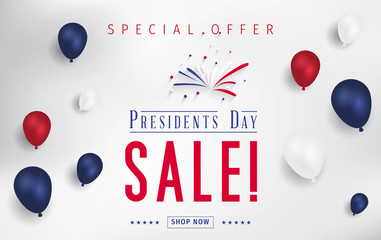 Presidents Day Sale banner - Presidents Day special offer. Banner for presidents day sale design. Special offer for Presidents Day celebration.