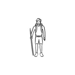 Hiker with backpack and walking stick hand drawn outline doodle icon. Travel, explore, backpacker hike concept. Vector sketch illustration for print, web, mobile and infographics on white background.