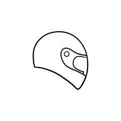 Motorcycle helmet hand drawn outline doodle icon. Motorbike protection and speed, safety equipment concept. Vector sketch illustration for print, web, mobile and infographics on white background.