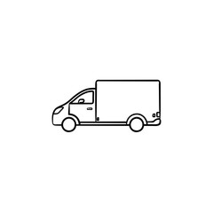 Delivery van hand drawn outline doodle icon. Goods shipping transport and fast delivery, logistic concept. Vector sketch illustration for print, web, mobile and infographics on white background.