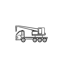 Crane truck hand drawn outline doodle icon. Construction and mobile crane, load and lifting equipment concept. Vector sketch illustration for print, web, mobile and infographics on white background.