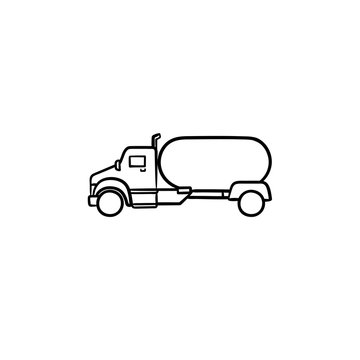 Fuel truck hand drawn outline doodle icon. Tanker truck, gasoline station and fuel delivery, cistern concept. Vector sketch illustration for print, web, mobile and infographics on white background.