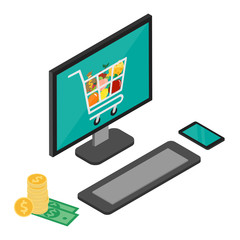 Online shopping concept with computer flat design