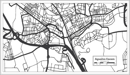 Agualva Cacem Portugal City Map in Retro Style. Outline Map.
